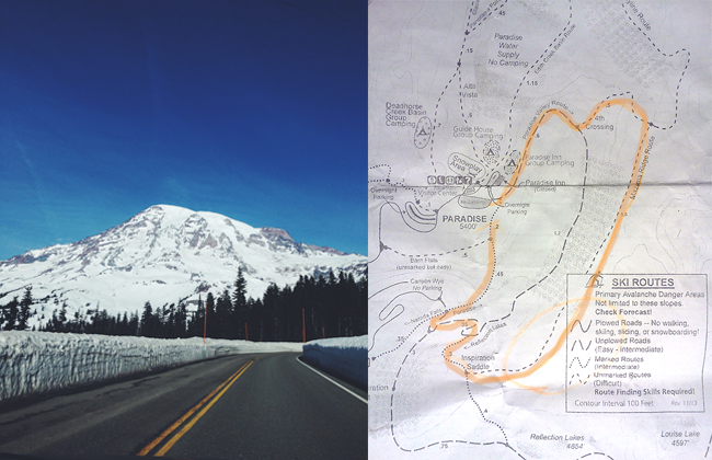 Mt. Rainier and Mazama Ridge Trail Map